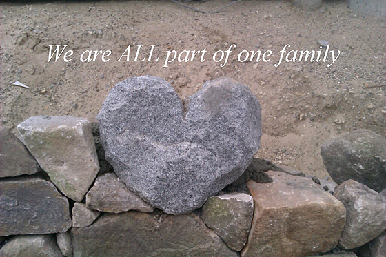 We are all part of one family [heart shaped rock]