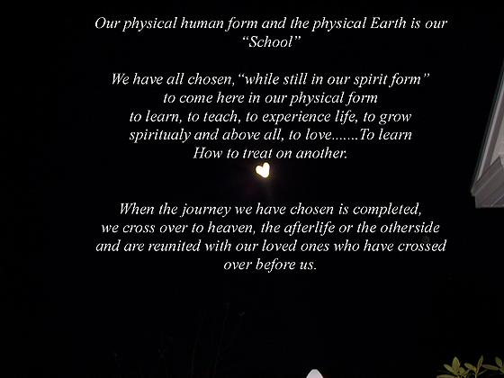 Our physical human form and the physical earth is our school [heart shaped moon]