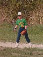 Billy playing baseball
